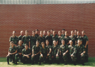 Christopher Almont and his intel school class photo taken at Goodfellow Air Force Base in Texas in September 1992, when woodland BDUs were still a thing.