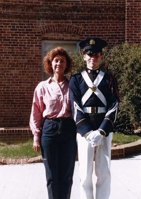 Christopher Almont and his Mom take a picture in front of the old Brodie Hall during his sophomore year homecoming in October 1988.