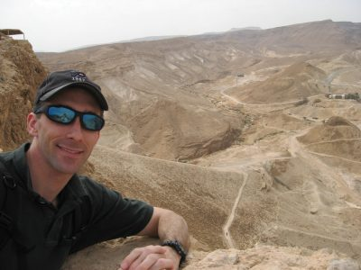 Christopher Almont overlooks the Roman Ramp in Masada, Israel, in February 2008.