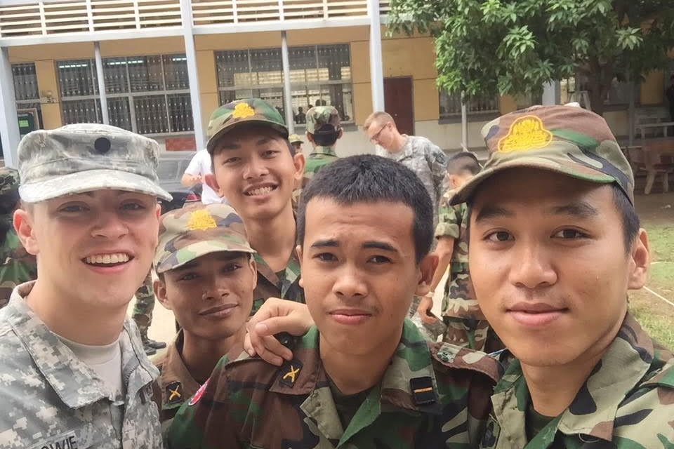 Cadet Dylan Bowie '19  took a photo with Cambodian cadets during his CULP mission.