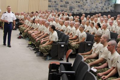 Incoming Army ROTC cadets receive their first briefing from the Professor of Military Science Col. Kevin Milton