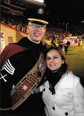 Aaron Bonovitch and his wife, Darcy, at the 2011 Virginia Tech vs. UNC football game.