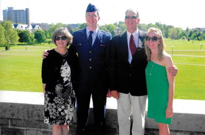 Aaron Bonovitch's mom, Shirley; father, Ricky; and sister, Sara, attend his Air Force commissioning in May 2012.