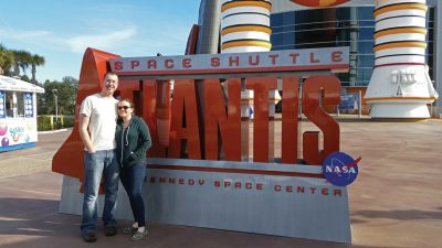 Aaron and Darcy Bonovitch on a recent visit to the Kennedy Space Center in Florida.