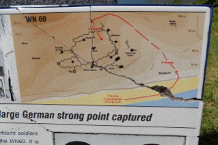 At WN60, this illustration depicts fighting positions and the route of assault led by 1st Lt. Jimmie Monteith.