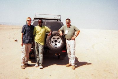 Taylor Jones, at far right, and his team on a liaison trip somewhere in the Djiboutian desert, 2007.