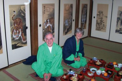 Mike and Janey Swain immersed in the Japanese culture.
