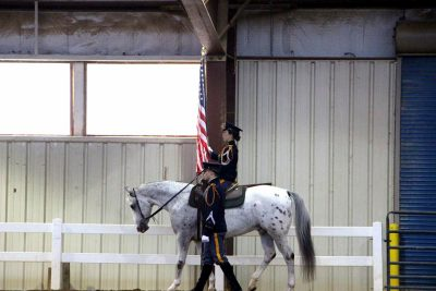 : The presentation of the colors begins at a horse show in Lexington, Virginia.