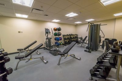 New Cadet Hall contains a gym room for cadets.