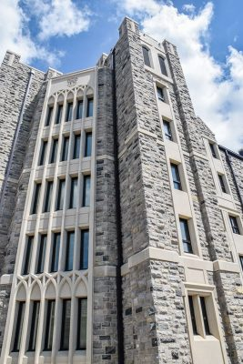 New Cadet Hall is built in the Collegiate Gothic style that characterizes most of Virginia Tech's main campus.