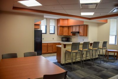The basement level of New Cadet Hall has a full kitchen for cadets to use.