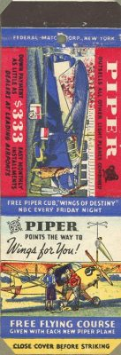 Maj. Gen. Cecil R. Moore collected matchbook covers from his travels. This cover features an advertisement for a Piper Cub airplane from the 1920s.