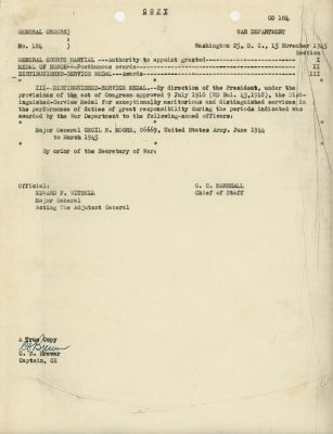 A copy of U.S. War Department General Order awarding Maj. Gen. Cecil R. Moore the Distinguished Service Medal in 1945.