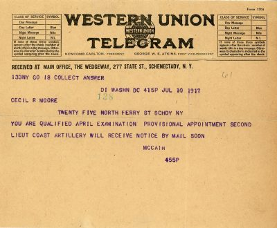 A telegram alerted Maj. Gen. Cecil R. Moore that he passed his exams for appointment as a second lieutenant in the Coast Artillery.