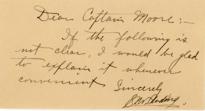 A handrwritten note from the commandant to Cecil Moore.
