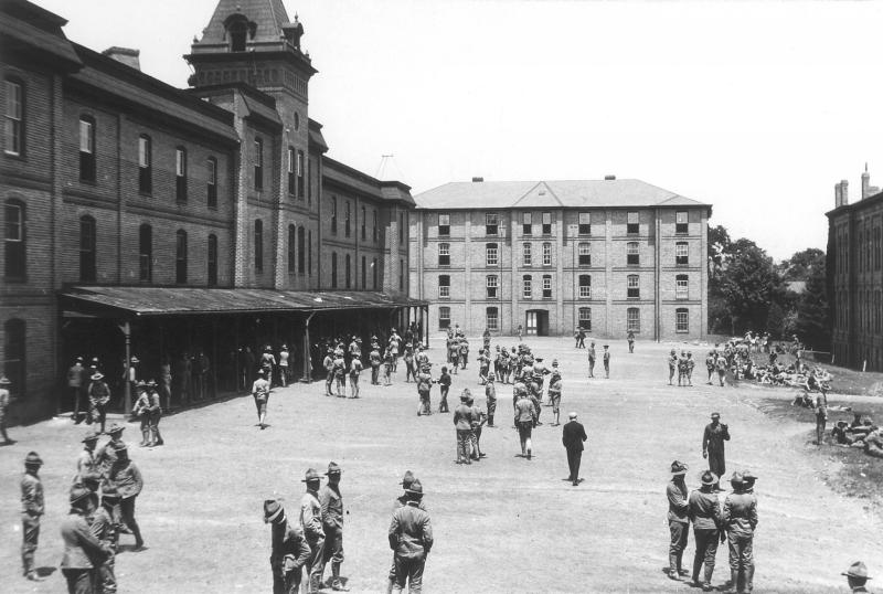 Cadets gather outside Barracks No. 1, now Lane Hall, in 1957.