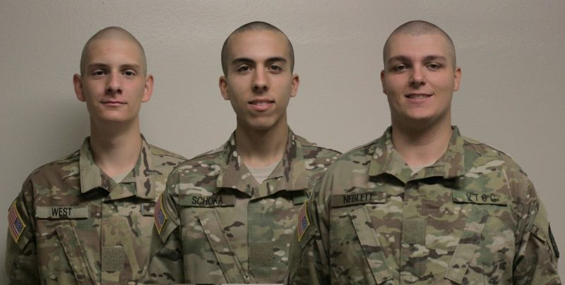 From left to right are Cadets Jonah West, Michael Schoka, and Alexander Neblett in their utility uniforms.