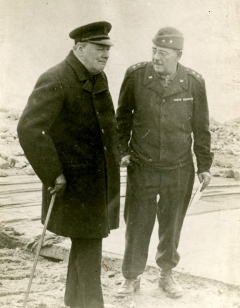 Maj. Gen. Cecil R. Moore, at right, accompanied Winston Churchill on tours of Cherbourg, France