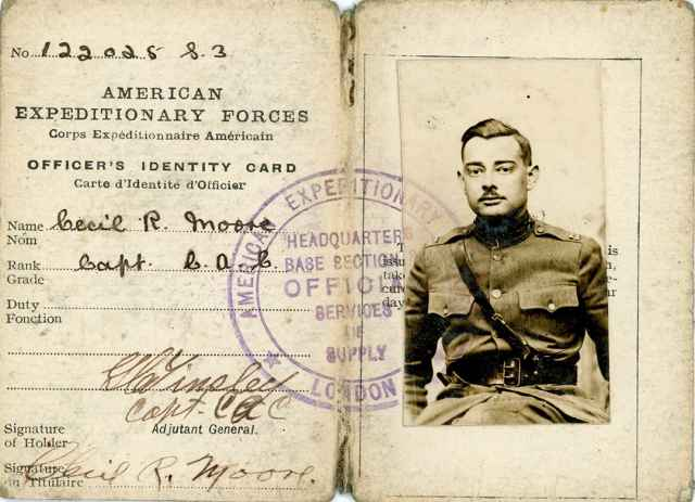 Then-Capt. Cecil R. Moore's World War I military ID card, circa 1918.