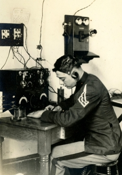 Maj. Gen. Cecil R. Moore is shown here as a cadet with what appears to be telegraph equipment.