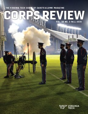 The Fall 2020 edition of the Corps Review features Skipper being fired on the football practice field at night.