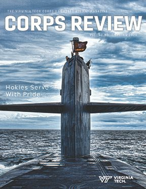 The spring 2020 Corps Review features a submarine flying a Virginia Tech flag.