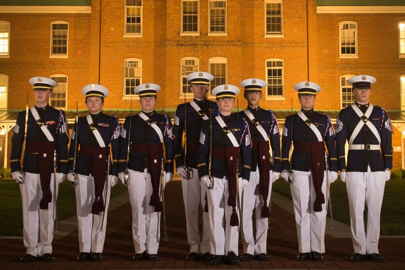The fall 2017 regimental staff poses for a picture in front of Lane Hall.