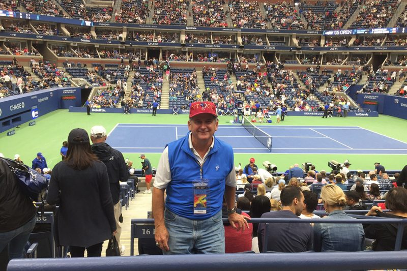 Highty-Tighty Alumni President Chuck Rowell '72 sports the hat and represents the Corps of Cadets at the 2017 U.S. Open.