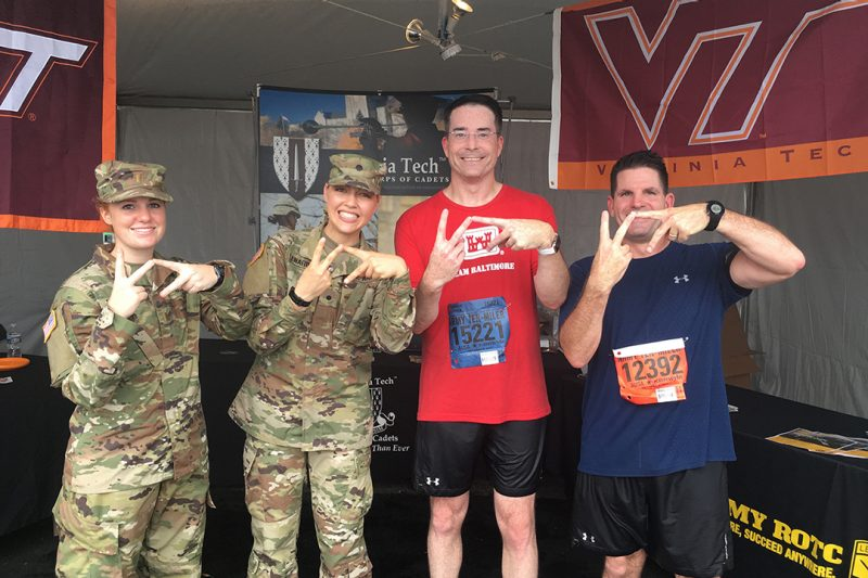Col. Ed Chamberlayne '93 and Col. Chip Daniels '93 stopped by the Corps of Cadets/Army ROTC tent at the Army Ten Miler.