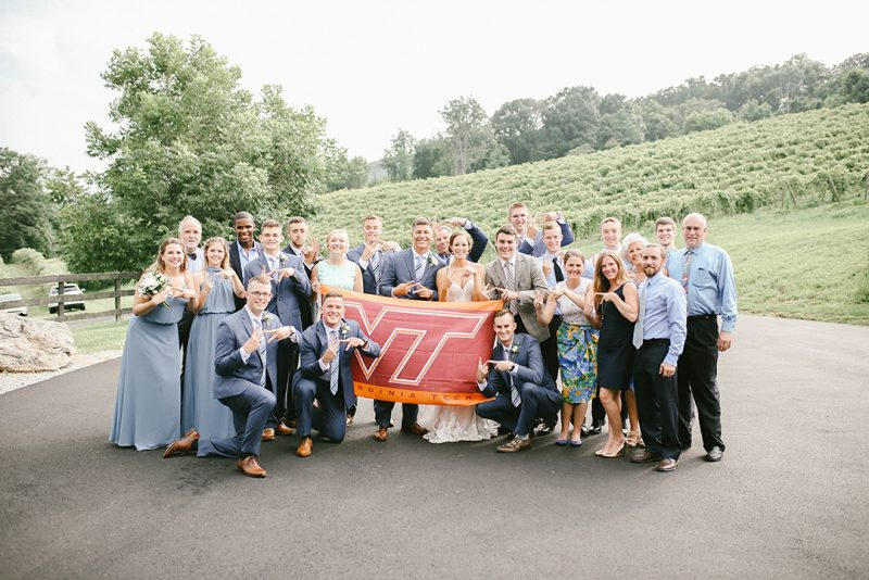 This is the official Hokie photo of E-Frat alumni Kylie Himmelberger Carroll '16 and Nick Carroll '17 and their wedding party.