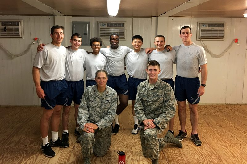 Maj. Susan Frank, bottom row at left, with Virginia Military Institute cadets at Camp Shelby, Louisiana.