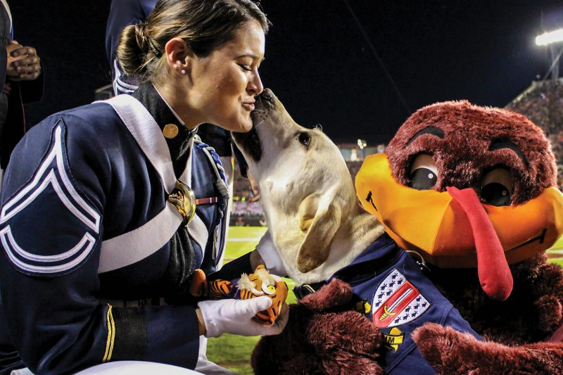 Growley nuzzles Regimental Handler Eleanor Franc '19 during the Sept. 30 football game against Clemson.
