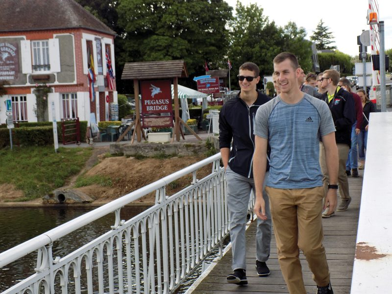 Cadets cross Pegasus Bridge, site of the very first battle on D-Day.