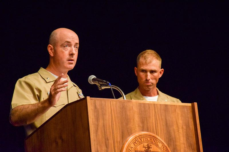 Navy Cmdr. Daniel Bense '99, at left, and Marine Lt. Col. Lawrence Lowman '99 addressed cadets during the Gunfighter Panel.