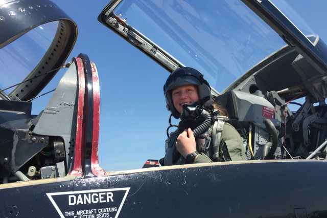 Cadet Michaela Albright '19 flew in a T-38