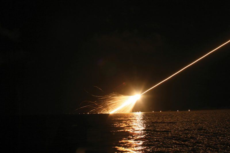 High-speed cameras placed in the Pacific Ocean capture the Minuteman III test vehicle as it re-enters the atmosphere.