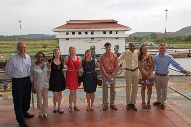 Capt. James Snyder, at far left, and the 2016 Olmsted cadets visit the Panama Canal.