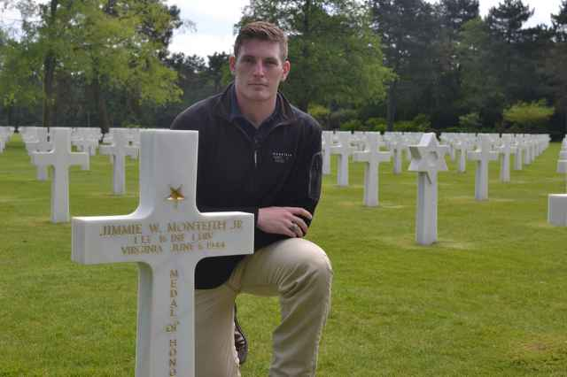 The cadets, including Bridger Johnson '17, visited 1st Lt. Jimmie Monteith's grave site.