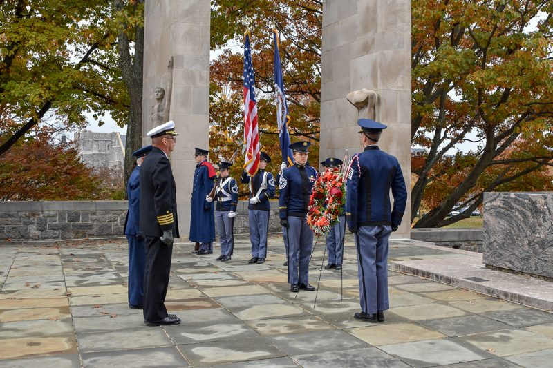 The wreath is placed on War Memorial Court during the Veterans Day Remembrance Ceremony on Nov. 12.
