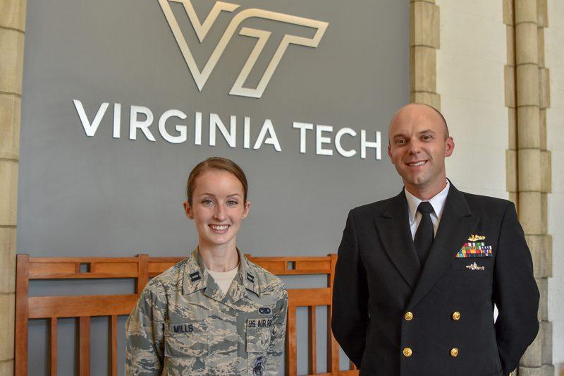 From left, U.S. Air Force Capt. Hope Mills '13 and U.S. Navy Cmdr. Nick Meyer '02