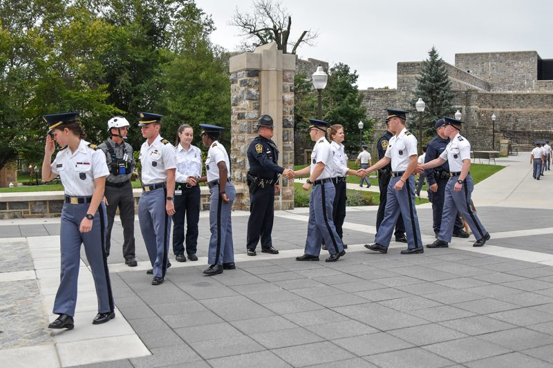 Cadets say thank you to local first-responders who participated in a silent formation marking the anniversary of Sept. 11, 2001.