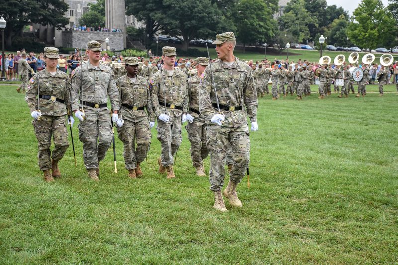 Regimental Commander John Holland '19 leads his staff during the New Cadet Parade on Aug. 18.