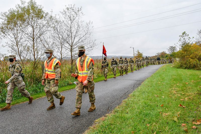 First-year cadets make the fall Caldwell March on Oct. 10.