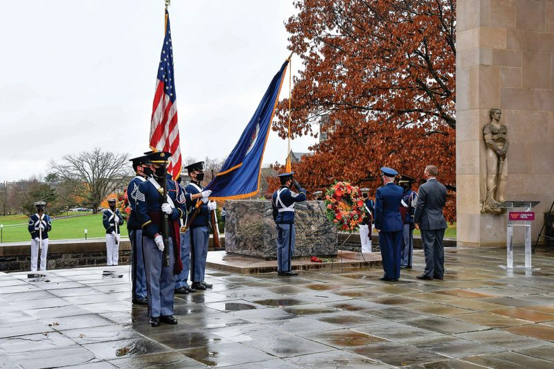 The Corps had a short, outdoor observance on Veterans Day that included the placing of a wreath.