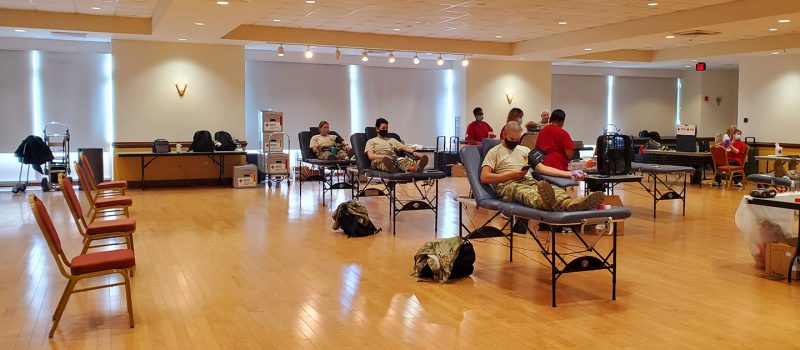 Cadets donate blood.