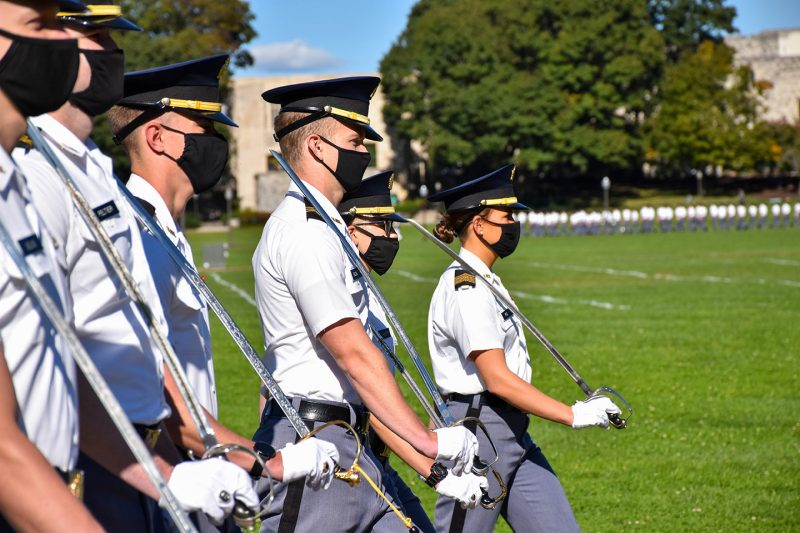 Cadets march a pass in review on Oct. 2.
