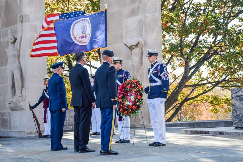 Col. Kevin Milton, Virginia Tech President Tim Sands, and Maj. Gen. Randal Fullhart participated in a wreath-laying ceremony at the Pylons.