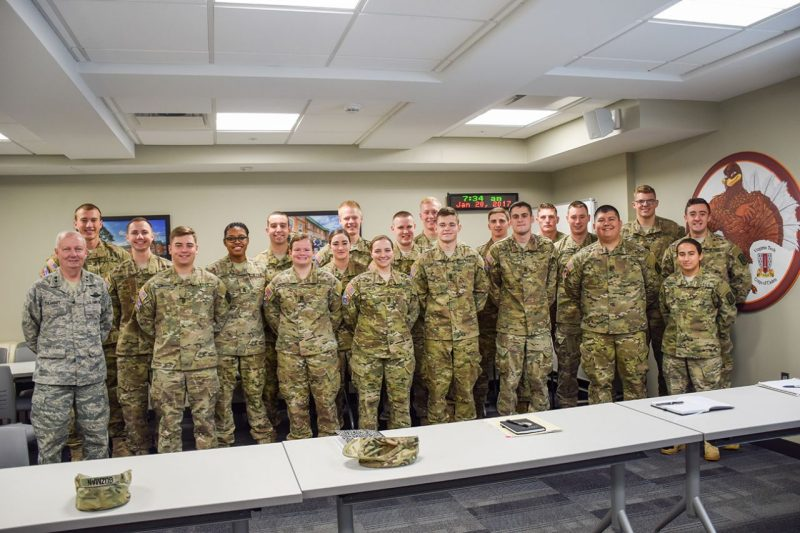 A group photos of the spring 2017 Regimental Staff