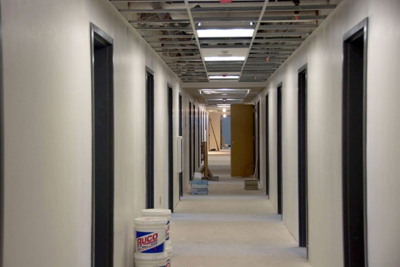 Inside New Cadet Hall, drywall was in place throughout the building by winter.