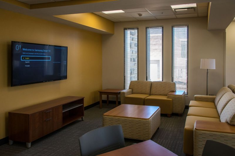 A study lounge in Pearson Hall.